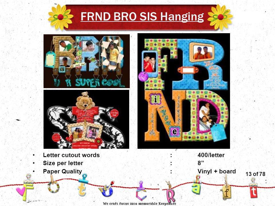 13of 51 FRND BRO SIS Hanging Letter cutout words:400/letter Size per letter:8 Paper Quality :Vinyl + board 13 of 78