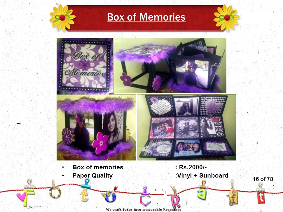 16of 51 Box of Memories Box of memories: Rs.2000/- Paper Quality :Vinyl + Sunboard 16 of 78