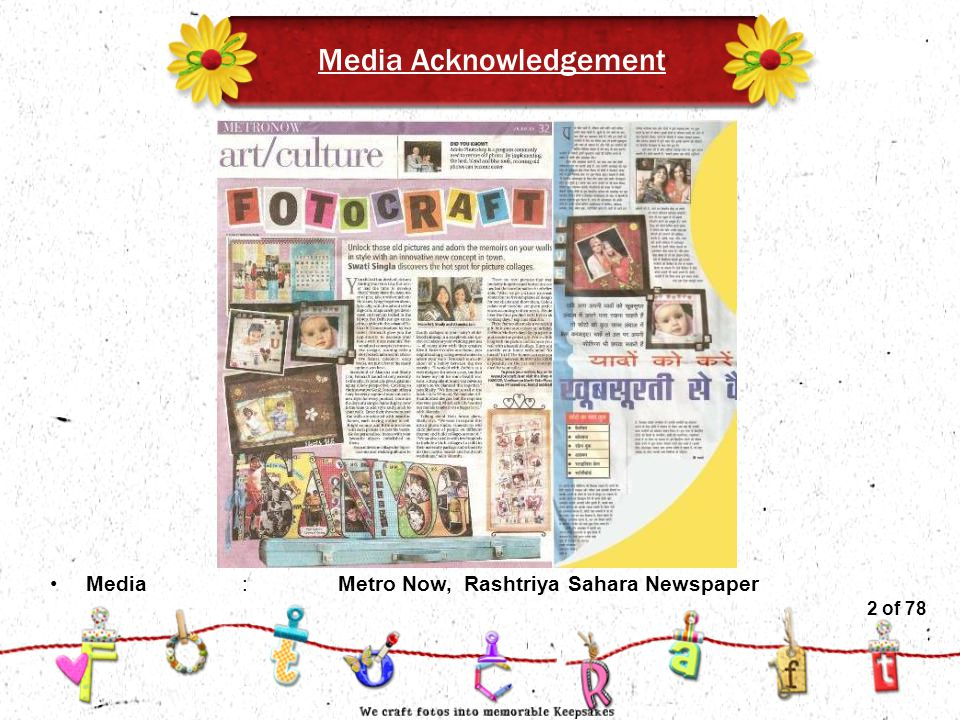 2of 51 Media Acknowledgement Media:Metro Now, Rashtriya Sahara Newspaper 2 of 78