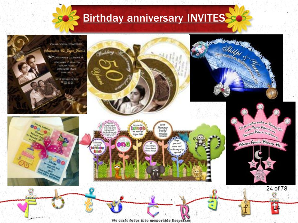24of 51 Birthday anniversary INVITES 24 of 78 24