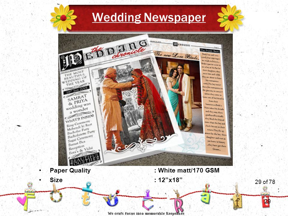 29of 51 Wedding Newspaper Size: 12 x18 Paper Quality : White matt/170 GSM 29 of 78 29
