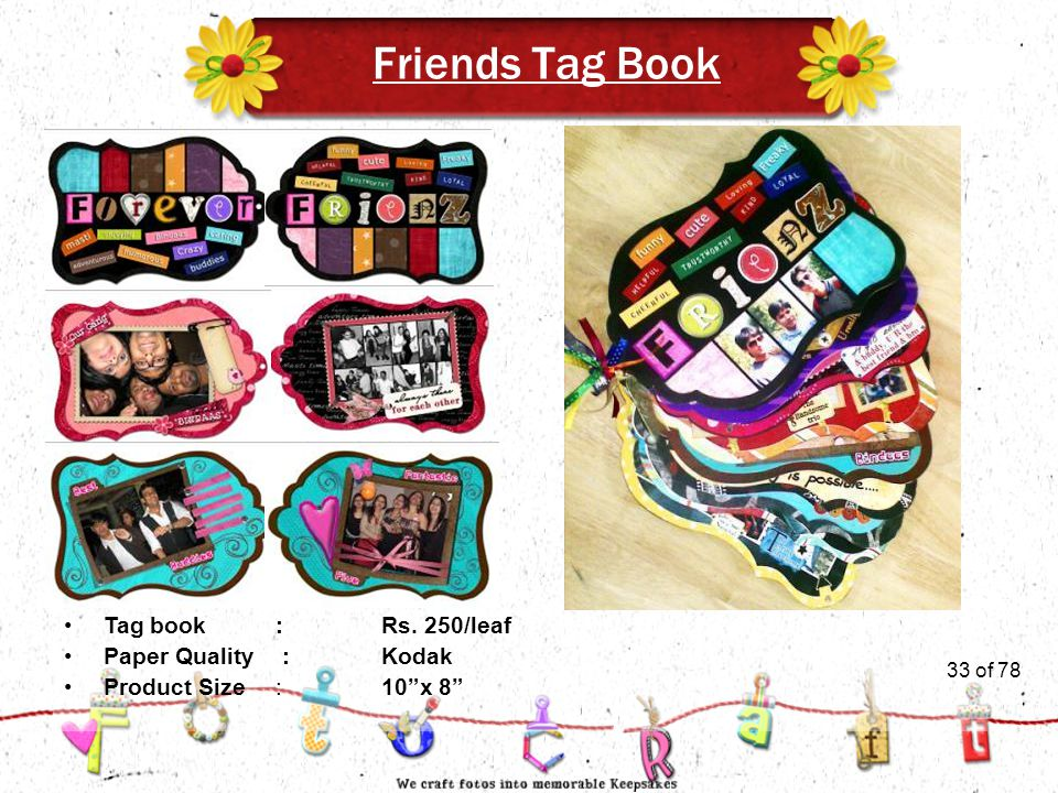 33of 51 Friends Tag Book Product Size:10 x 8 Tag book:Rs. 250/leaf Paper Quality :Kodak 33 of 78