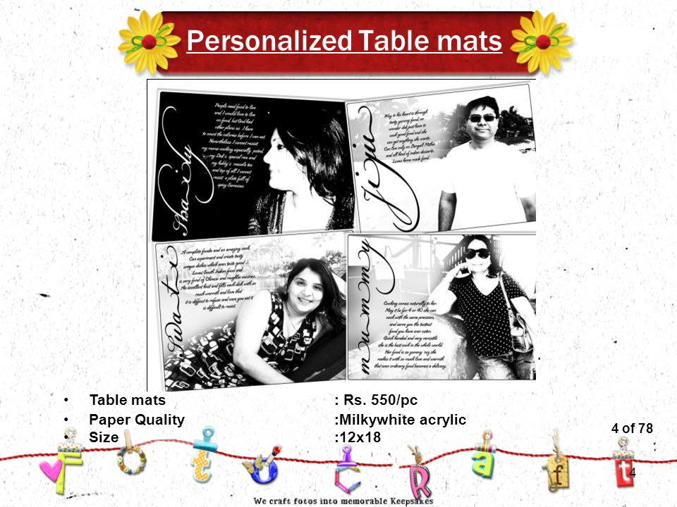 4of 51 Personalized Table mats Size:12x18 Table mats: Rs.