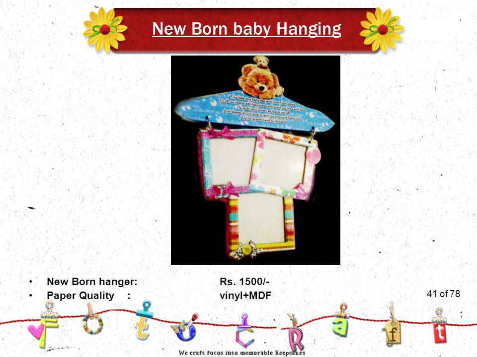 41of 51 New Born baby Hanging New Born hanger:Rs. 1500/- Paper Quality :vinyl+MDF 41 of 78