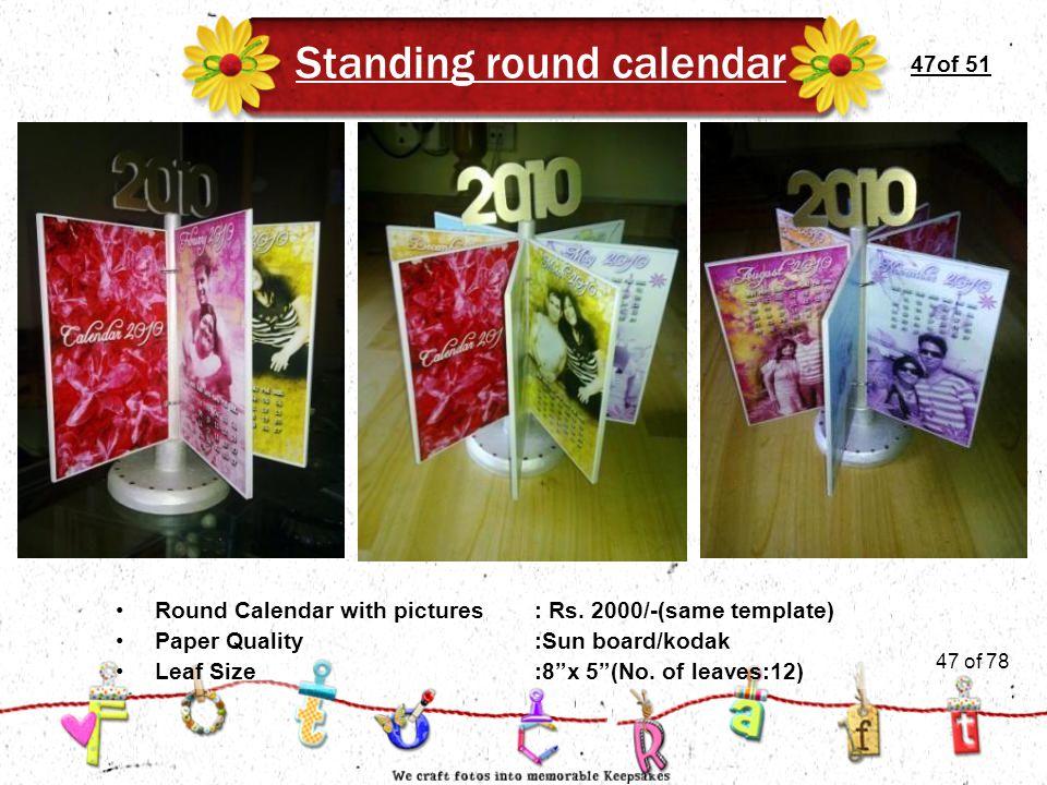47of 51 Standing round calendar Leaf Size:8 x 5 (No.