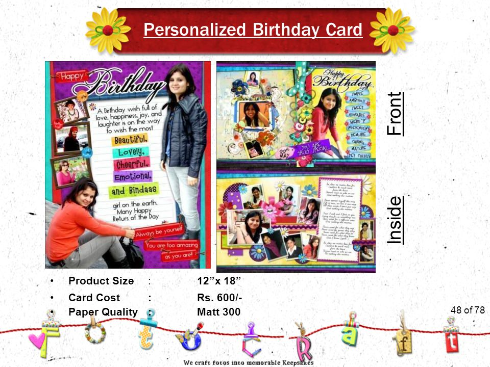 48of 51 Personalized Birthday Card Product Size:12 x 18 Card Cost :Rs.