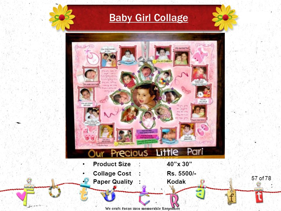 57of 51 Baby Girl Collage Product Size:40 x 30 Collage Cost :Rs.