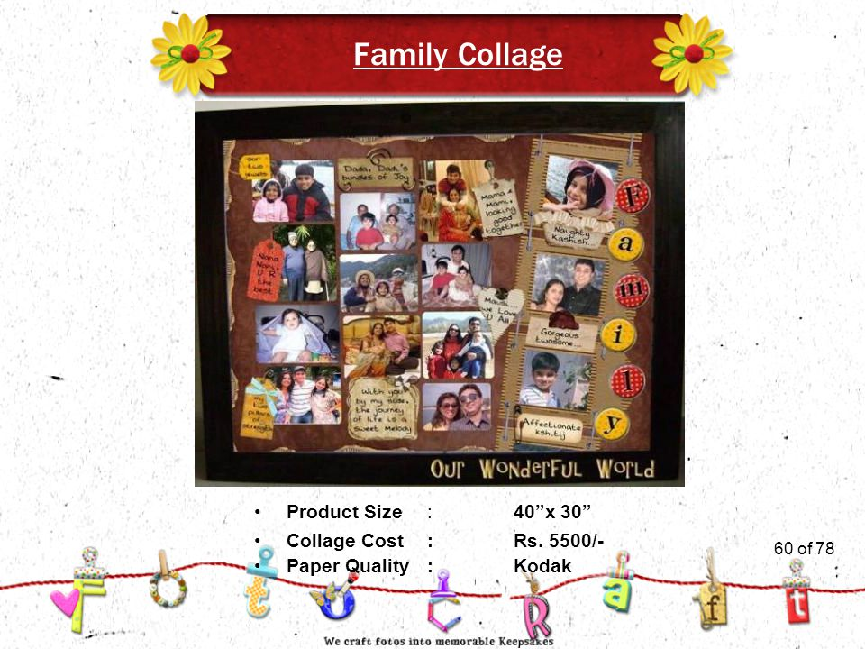 60of 51 Family Collage Product Size:40 x 30 Collage Cost :Rs. 5500/- Paper Quality:Kodak 60 of 78