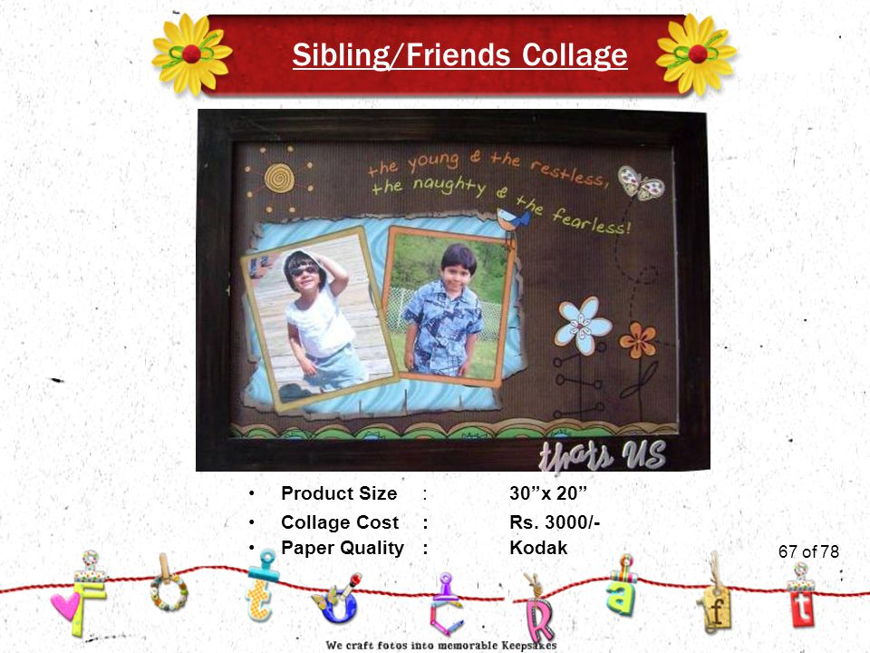 67of 51 Sibling/Friends Collage Product Size:30 x 20 Collage Cost :Rs.