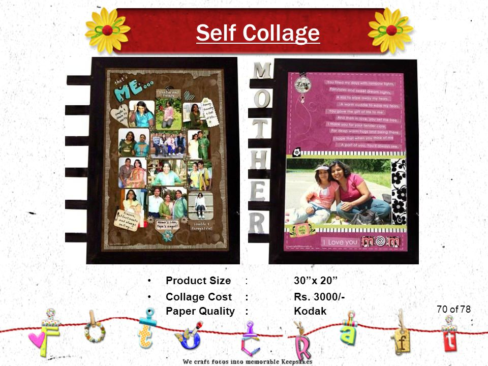 70of 51 Self Collage Product Size:30 x 20 Collage Cost :Rs. 3000/- Paper Quality:Kodak 70 of 78