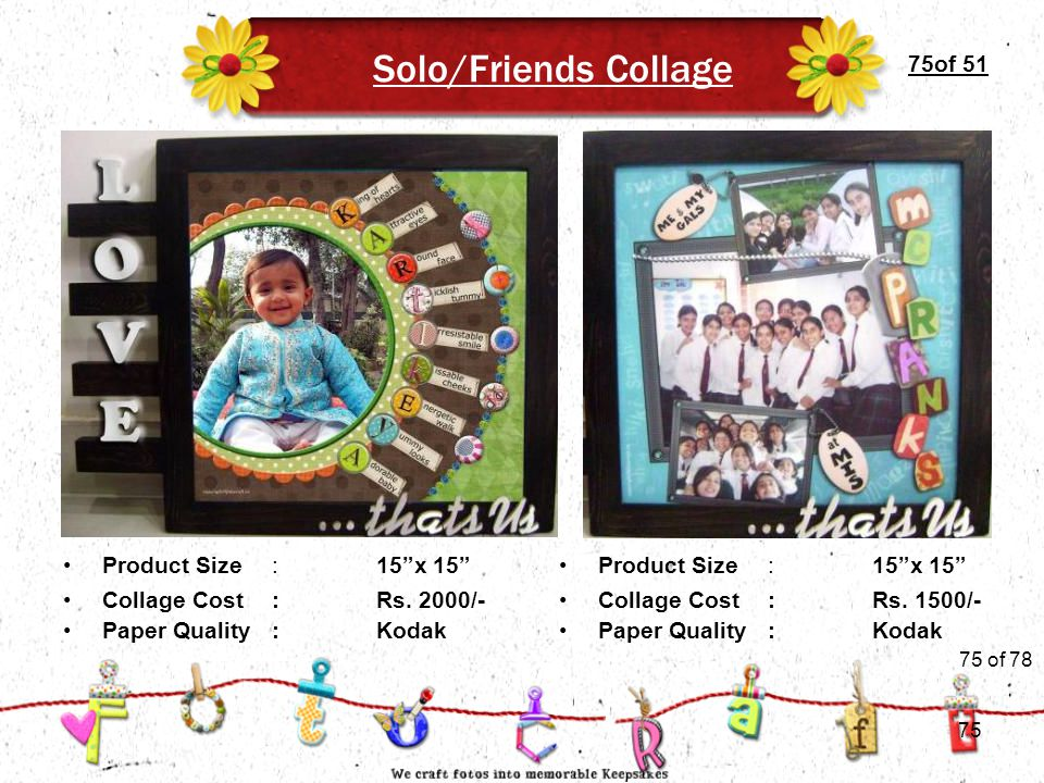 75of 51 Solo/Friends Collage Product Size:15 x 15 Collage Cost :Rs.