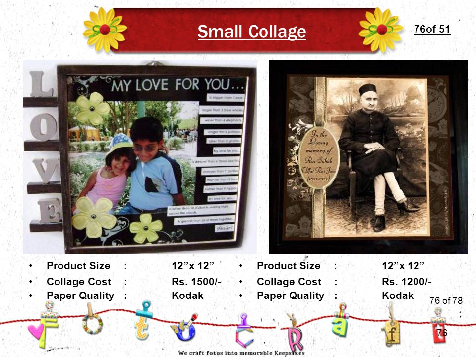 """76of 51 Small Collage Product Size:12""""x 12"""" Collage Cost :Rs. 1500/- Paper Quality:Kodak Collage Cost :Rs. 1200/- Paper Quality:Kodak Product Size:12"""""""