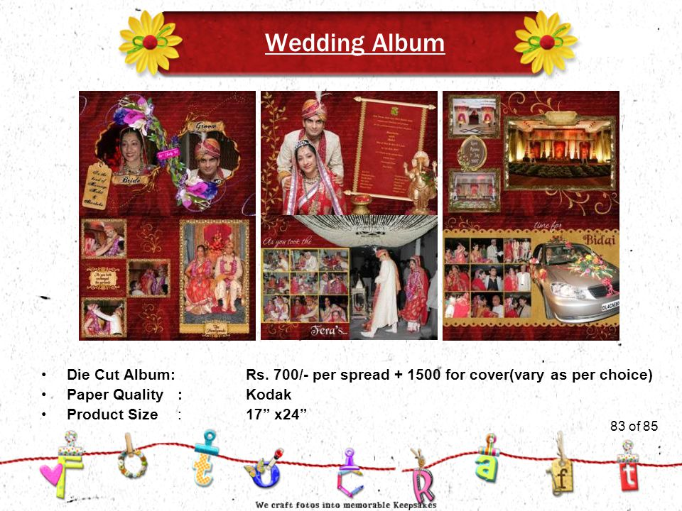 83of 51 Wedding Album Product Size:17 x24 Die Cut Album:Rs.