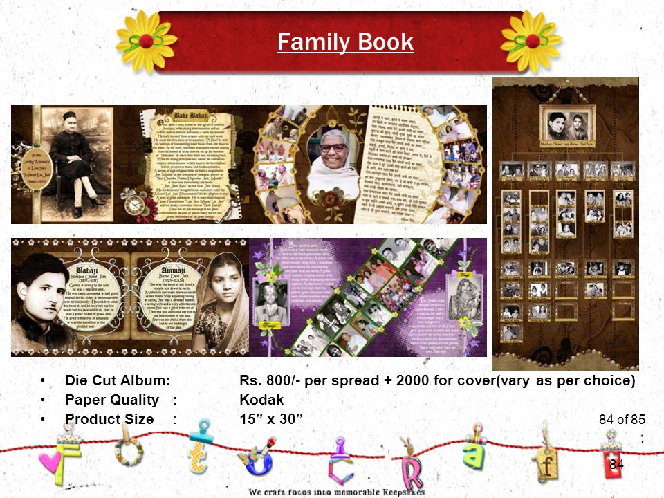 84of 51 Family Book Product Size:15 x 30 Die Cut Album:Rs.