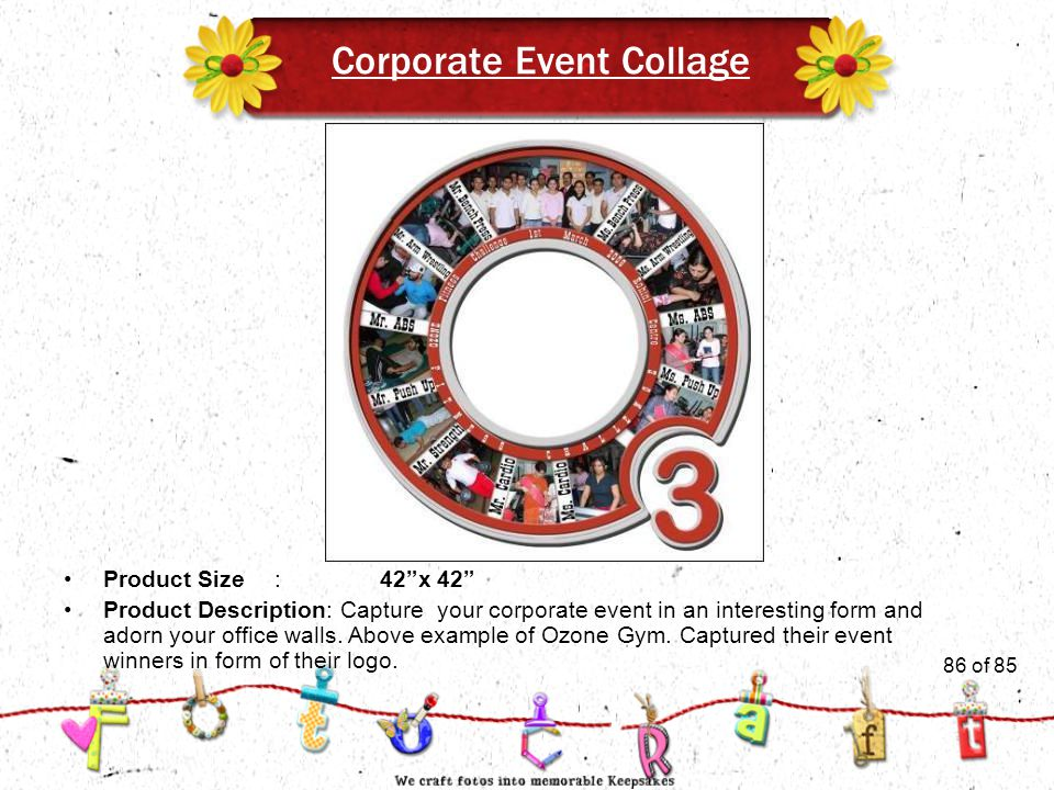 86of 51 Corporate Event Collage Product Size:42 x 42 Product Description: Capture your corporate event in an interesting form and adorn your office walls.
