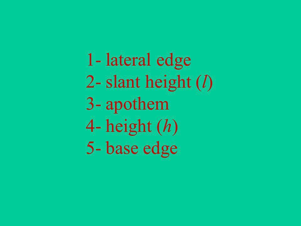 1- lateral edge 2- slant height (l) 3- apothem 4- height (h) 5- base edge