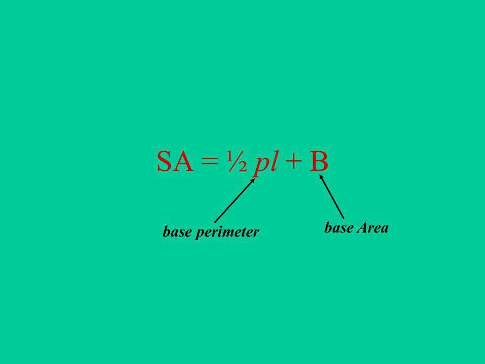 SA = ½ pl + B base perimeter base Area