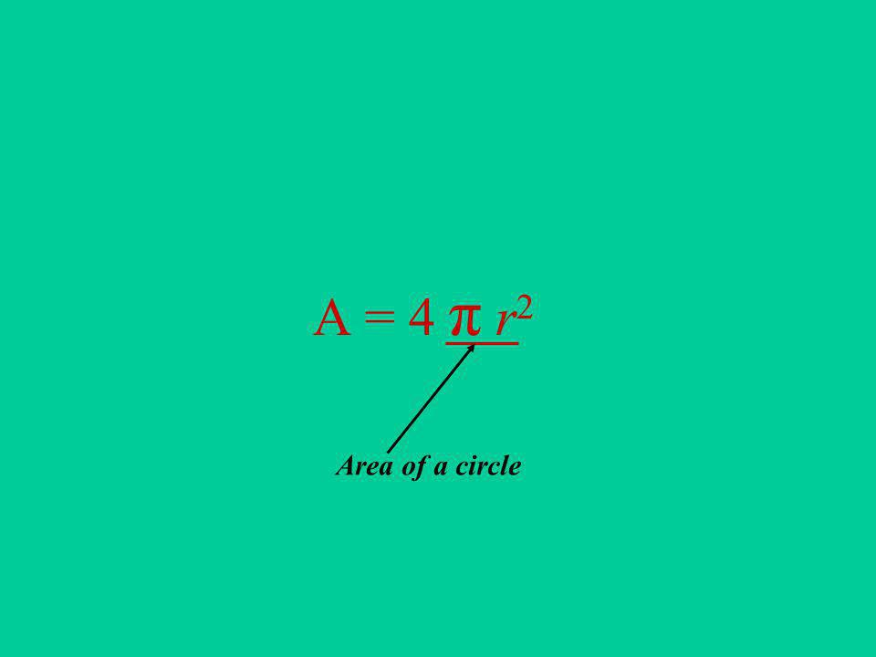 A = 4 π r 2 Area of a circle