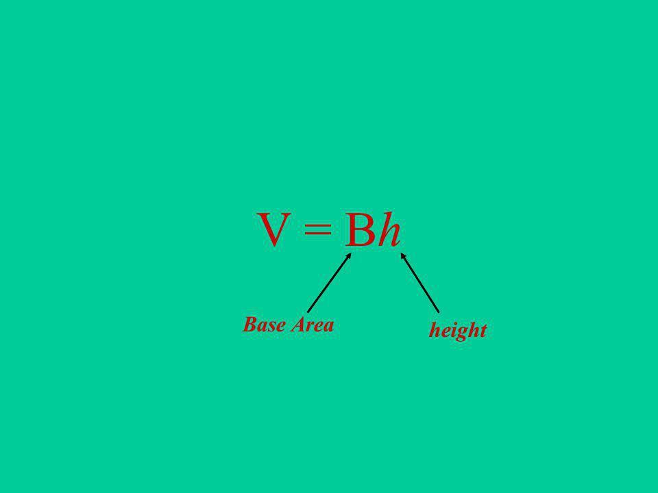 V = Bh Base Area height