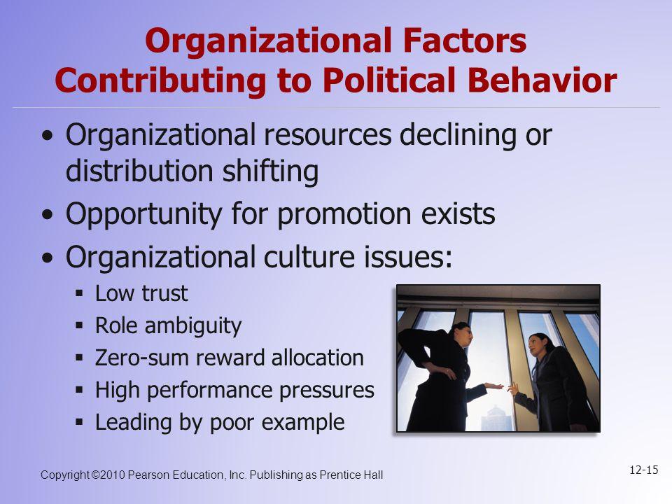 Copyright ©2010 Pearson Education, Inc. Publishing as Prentice Hall 12-15 Organizational Factors Contributing to Political Behavior Organizational res