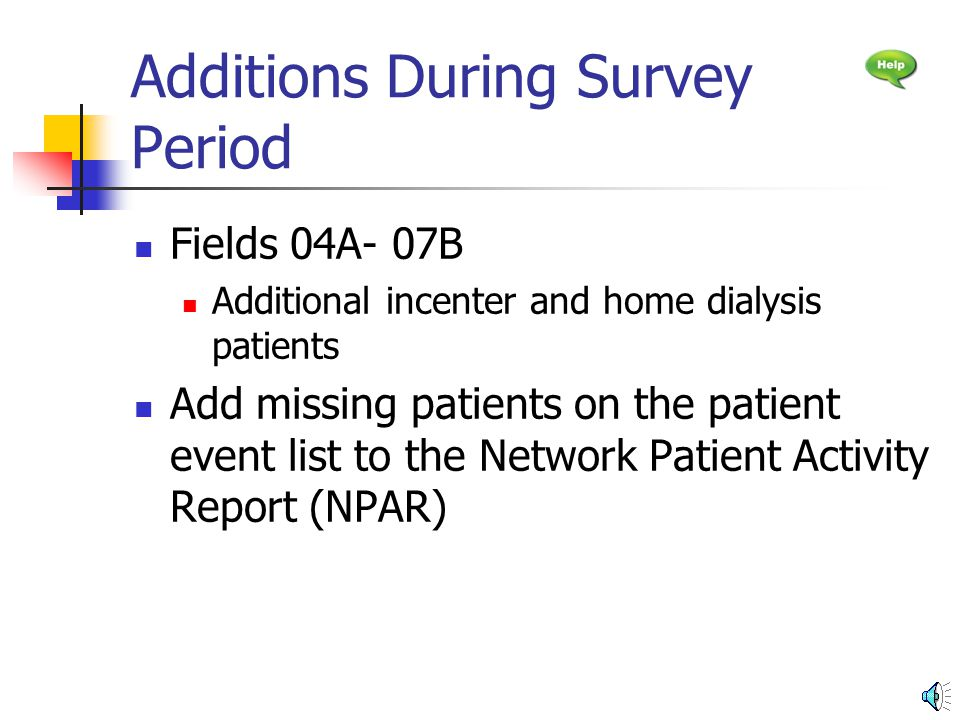 Patients Receiving Care at the Beginning of the Survey Period Fields 01- 03 Use Beginning Population data on Roster to complete these fields Field 01 Use the number in unit Field 02 Use the number in home Total Use the number after total beginning population