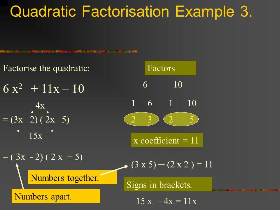 Quadratic Factorisation Example 3. Factorise the quadratic: 6 x 2 + 11x – 10 Factors 610 161 2325 x coefficient = 11 (3 x 5) – (2 x 2 ) = 11 = (3x 2)