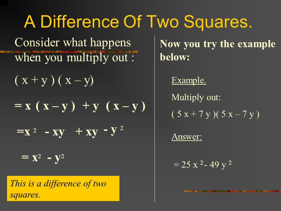 A Difference Of Two Squares.