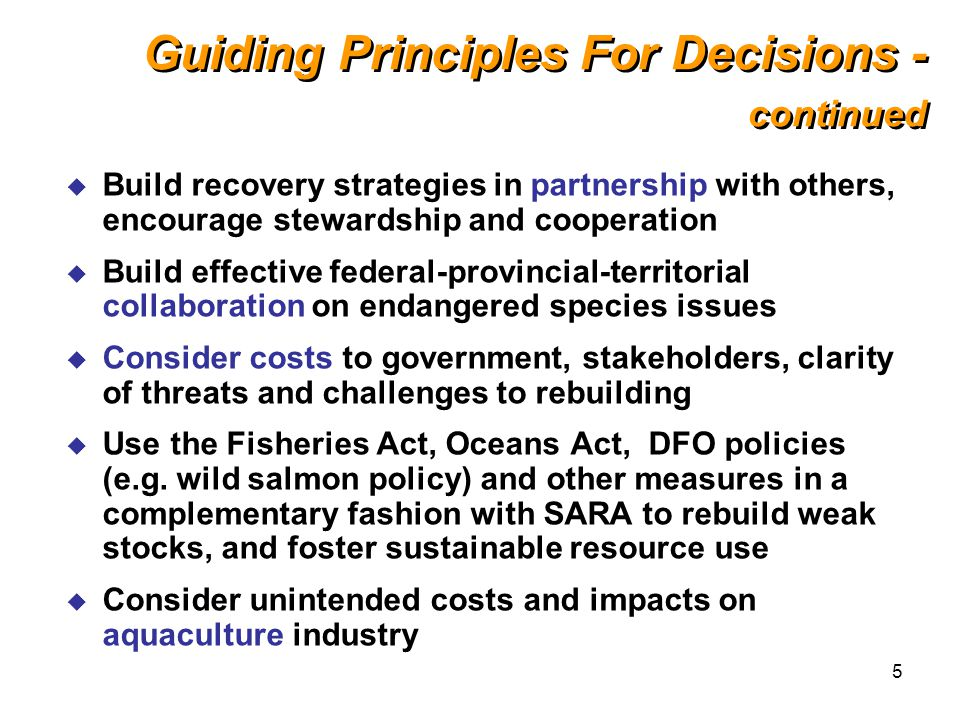 5 Guiding Principles For Decisions - continued u Build recovery strategies in partnership with others, encourage stewardship and cooperation u Build effective federal-provincial-territorial collaboration on endangered species issues u Consider costs to government, stakeholders, clarity of threats and challenges to rebuilding u Use the Fisheries Act, Oceans Act, DFO policies (e.g.