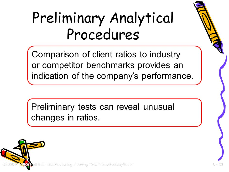 ©2008 Prentice Hall Business Publishing, Auditing 12/e, Arens/Beasley/Elder 8 - 20 Preliminary Analytical Procedures Comparison of client ratios to in