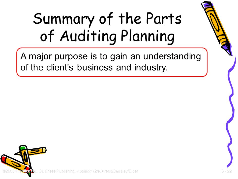 ©2008 Prentice Hall Business Publishing, Auditing 12/e, Arens/Beasley/Elder 8 - 22 Summary of the Parts of Auditing Planning A major purpose is to gai