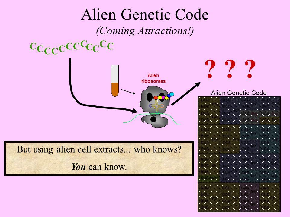 C C CC C CC C C C C C Alien Genetic Code Alien ribosomes .