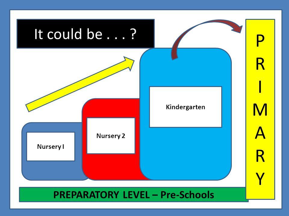 It could be... ? Nursery I Nursery 2 Kindergarten PREPARATORY LEVEL – Pre-Schools PRIMARYPRIMARY