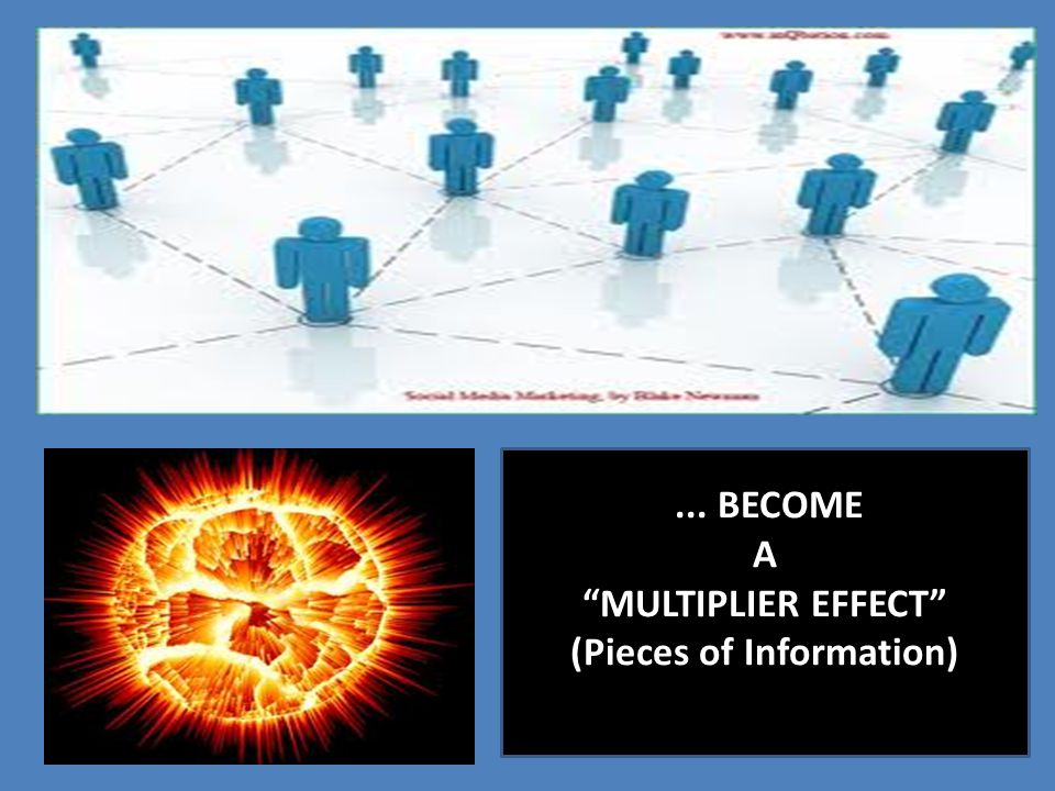 "... BECOME A ""MULTIPLIER EFFECT"" (Pieces of Information)"