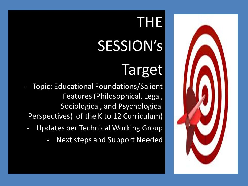 THE SESSION's Target -Topic: Educational Foundations/Salient Features (Philosophical, Legal, Sociological, and Psychological Perspectives) of the K to