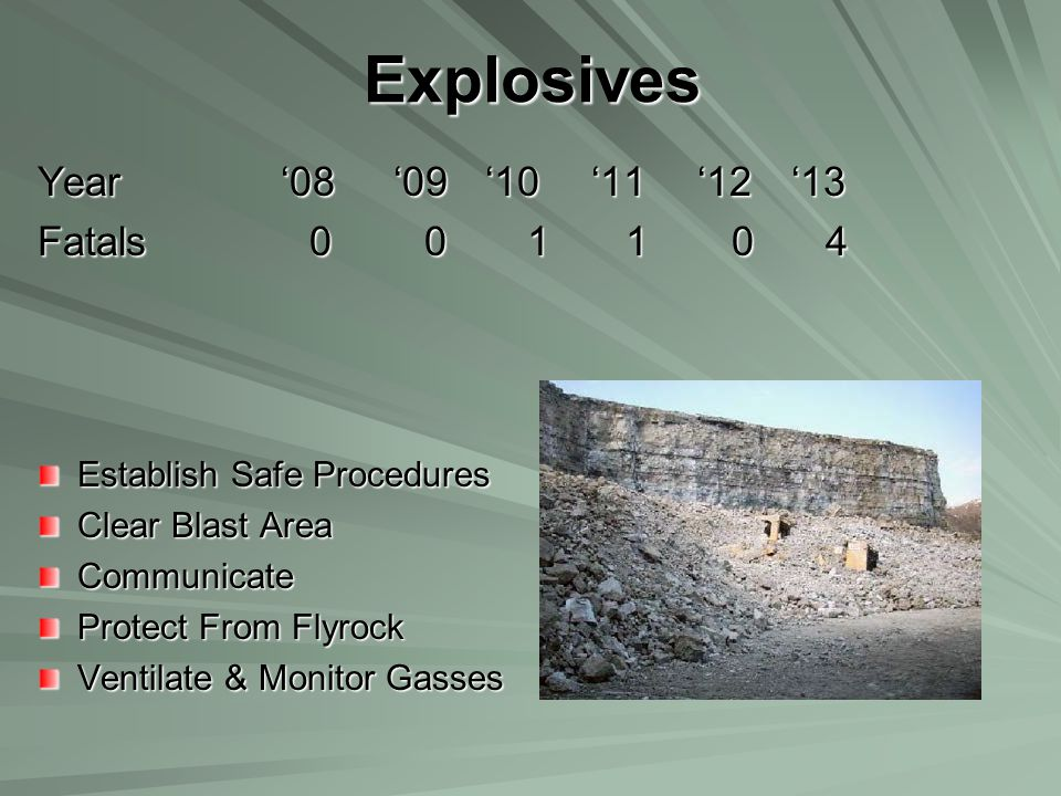 Explosives Year '08 '09 '10 '11 '12 '13 Fatals 0 0 1 1 0 4 Establish Safe Procedures Clear Blast Area Communicate Protect From Flyrock Ventilate & Mon