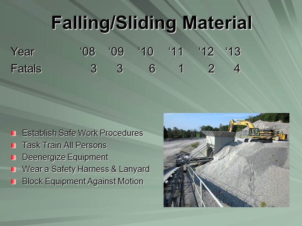 Falling/Sliding Material Year '08 '09 '10 '11 '12 '13 Fatals 3 3 6 1 2 4 Establish Safe Work Procedures Task Train All Persons Deenergize Equipment We