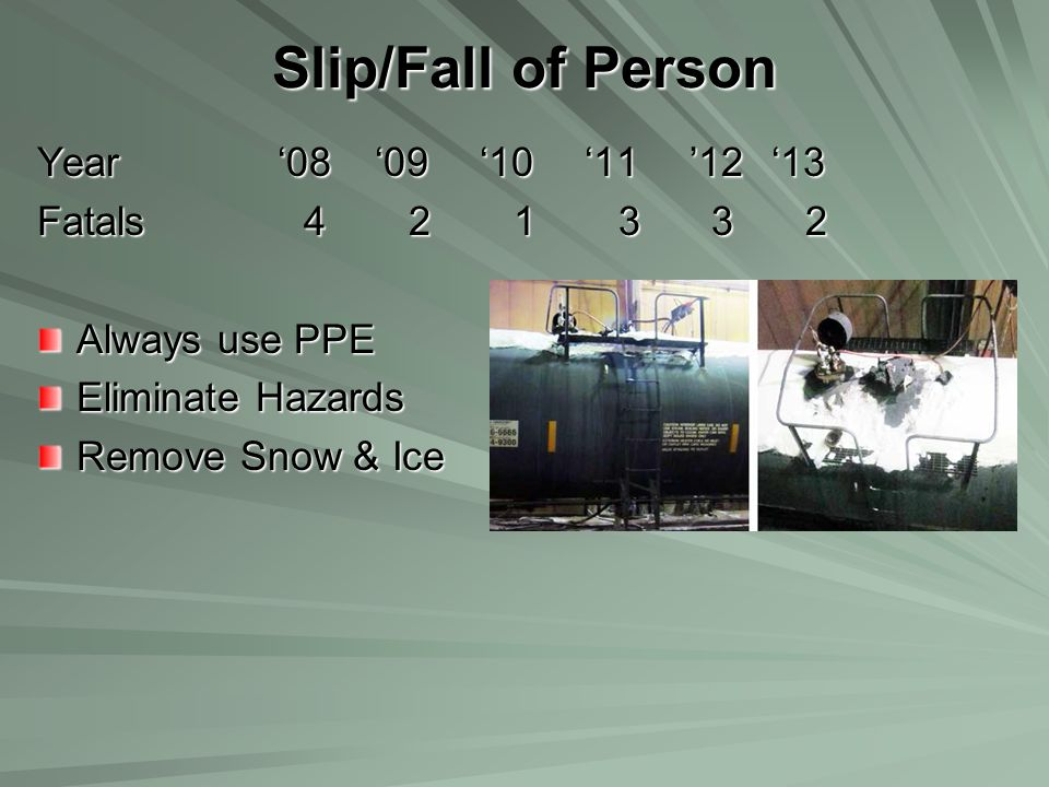 Slip/Fall of Person Year '08 '09 '10 '11 '12'13 Fatals 4 2 1 3 3 2 Always use PPE Eliminate Hazards Remove Snow & Ice