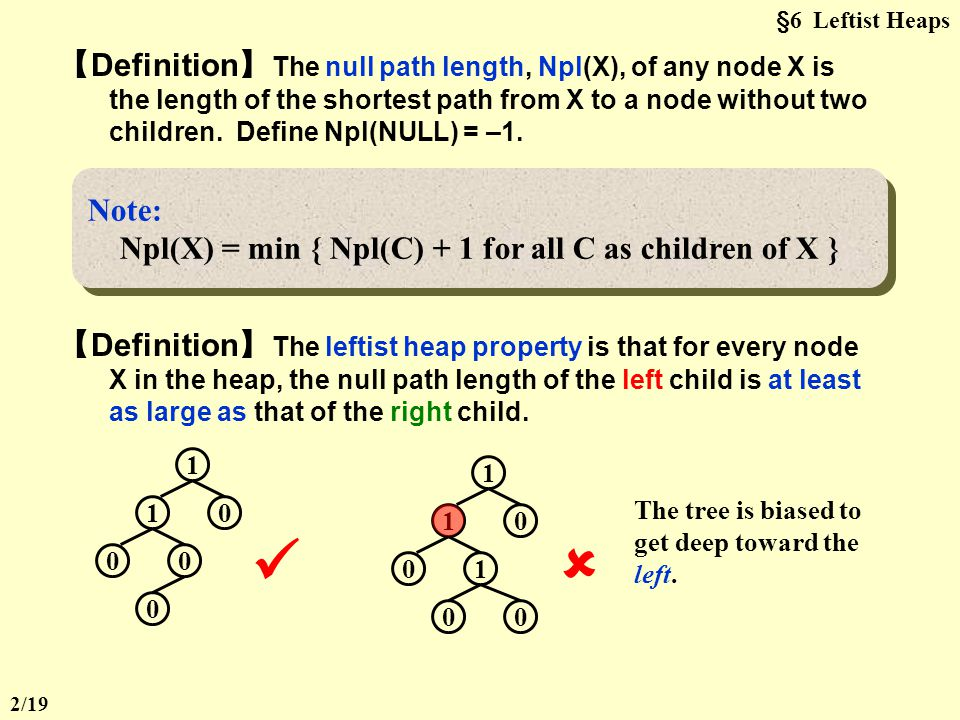 §6 Leftist Heaps CHAPTER 5 Graph Algorithms  Heap: Structure Property + Order Property Target : Speed up merging in O(N).
