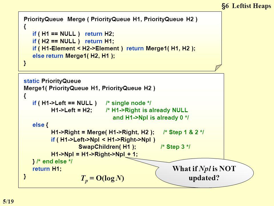 §6 Leftist Heaps struct TreeNode { ElementType Element; PriorityQueue Left; PriorityQueue Right; int Npl; } ;  Declaration:  Merge (recursive version): 3 10 2114 23 8 17 26 6 12 1824 33 7 3718 H1H1 H2H2 Step 1 : Merge( H 1 ->Right, H 2 ) 8 17 26 6 12 1824 33 7 18 37 Step 2 : Attach( H 2, H 1 ->Right ) 3 10 2114 238 17 26 6 12 1824 33 7 18 37 Step 3 : Swap(H 1 ->Right, H 1 ->Left ) if necessary 4/19
