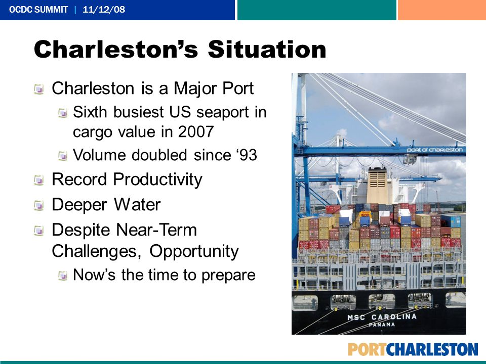 OCDC SUMMIT | 11/12/08 Charleston is a Major Port Sixth busiest US seaport in cargo value in 2007 Volume doubled since '93 Record Productivity Deeper Water Despite Near-Term Challenges, Opportunity Now's the time to prepare Charleston's Situation