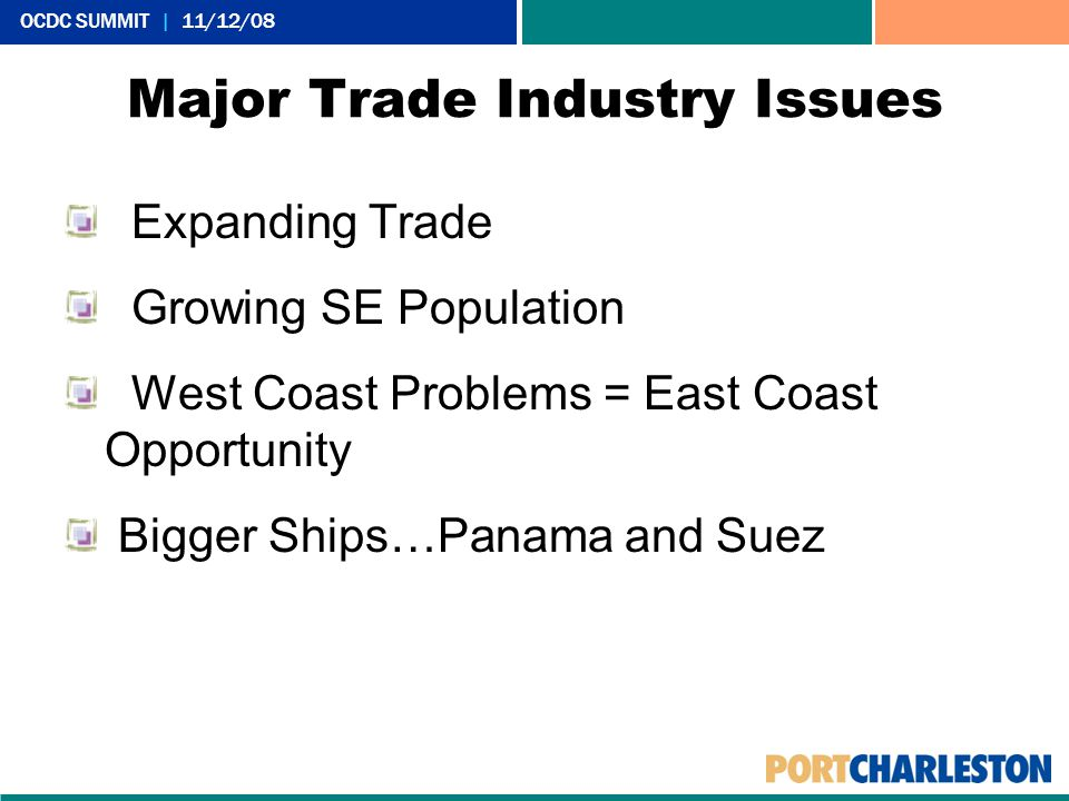 OCDC SUMMIT | 11/12/08 Major Trade Industry Issues Expanding Trade Growing SE Population West Coast Problems = East Coast Opportunity Bigger Ships…Panama and Suez