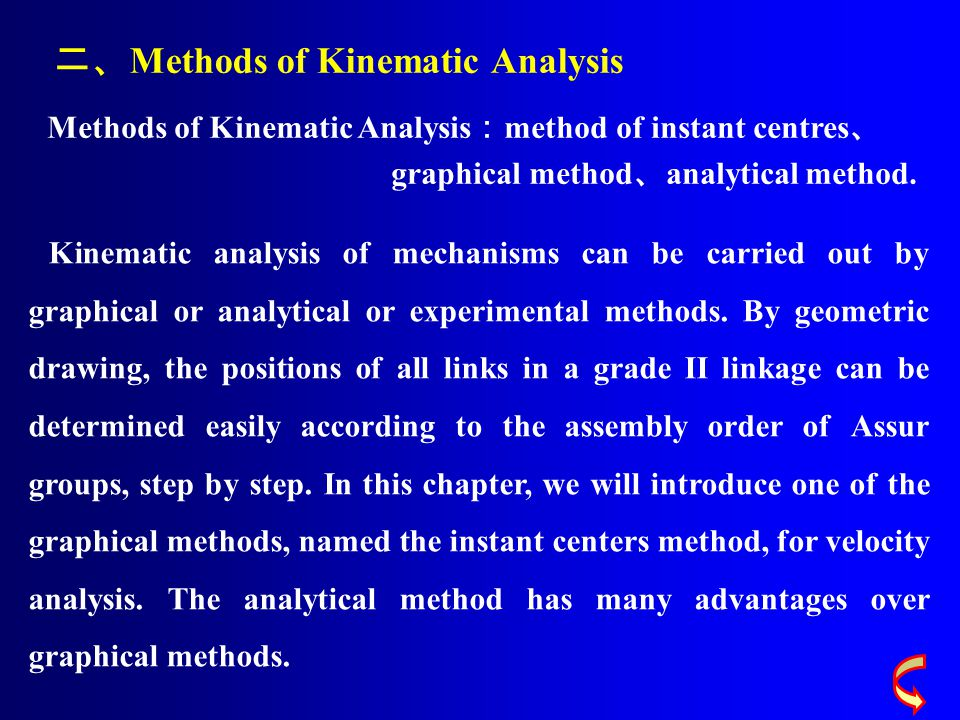 二、 Methods of Kinematic Analysis Methods of Kinematic Analysis : method of instant centres 、 graphical method 、 analytical method. Kinematic analysis