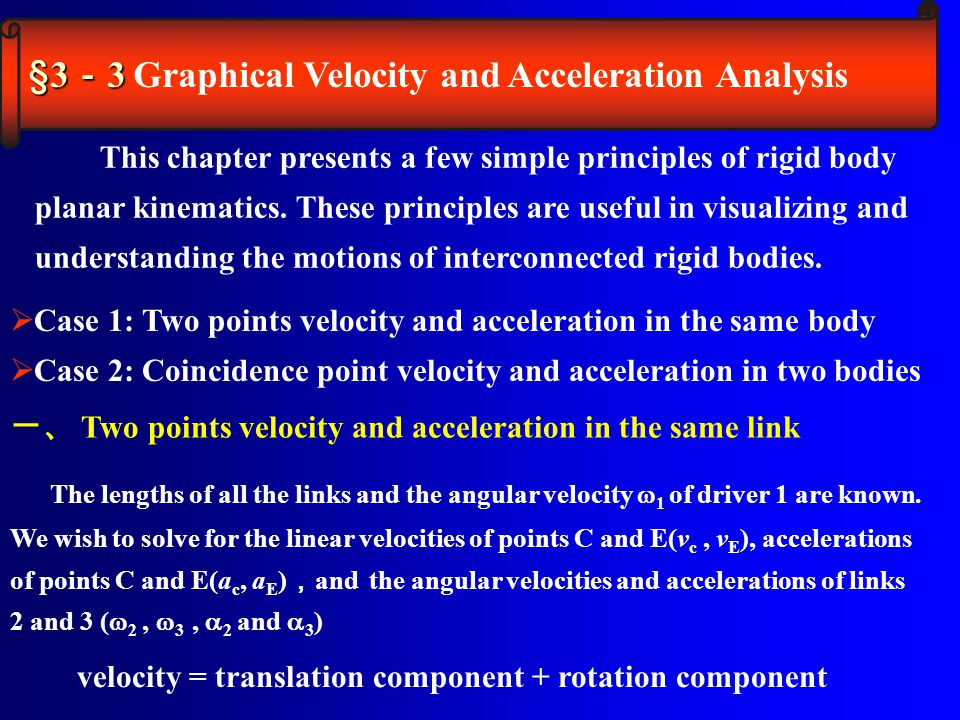 This chapter presents a few simple principles of rigid body planar kinematics. These principles are useful in visualizing and understanding the motion