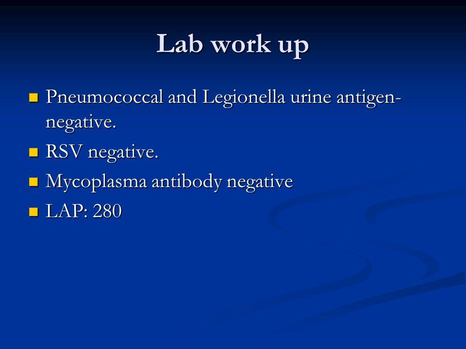 Lab work up Pneumococcal and Legionella urine antigen- negative.