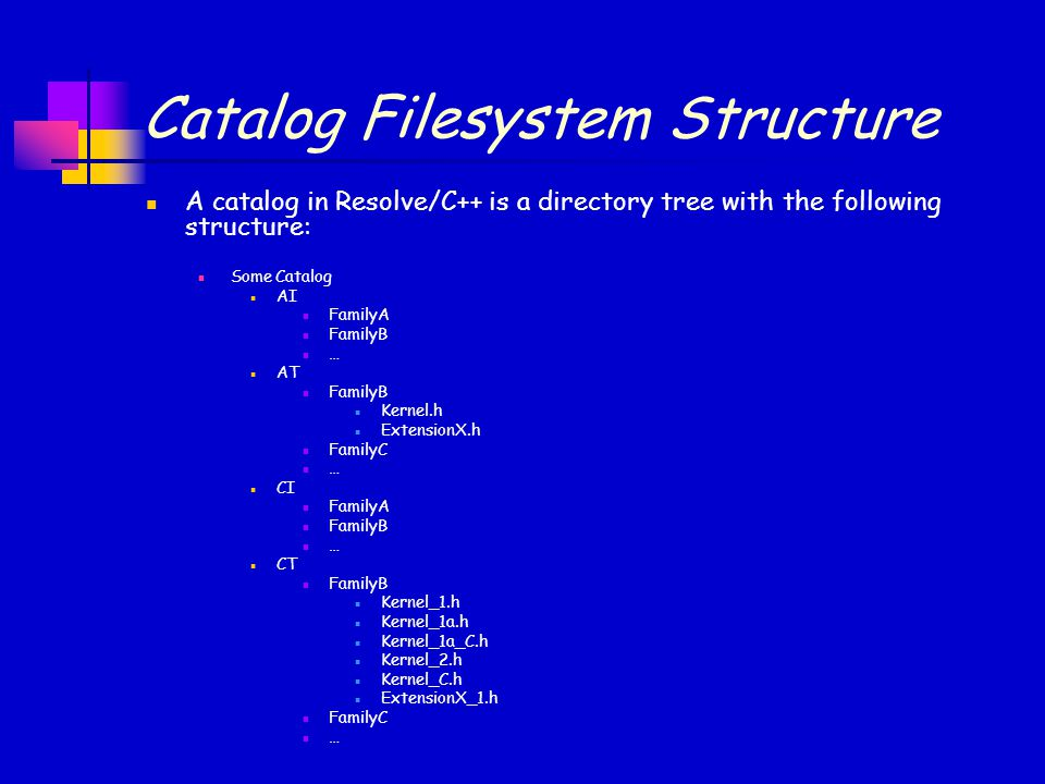 Catalog Filesystem Structure A catalog in Resolve/C++ is a directory tree with the following structure: Some Catalog AI FamilyA FamilyB … AT FamilyB K