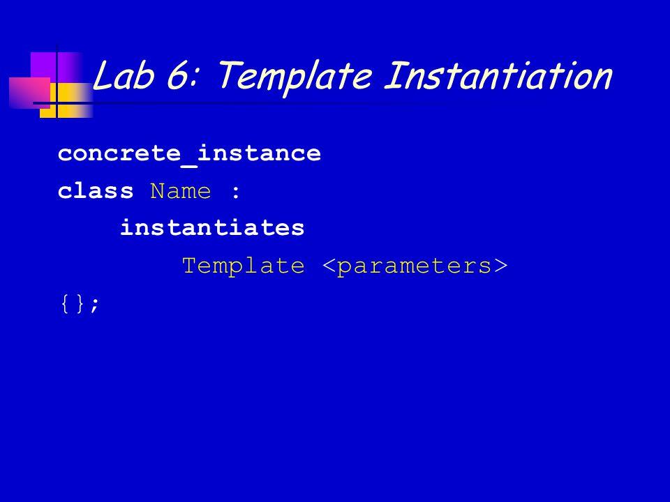 Lab 6: Template Instantiation concrete_instance class Name : instantiates Template {};