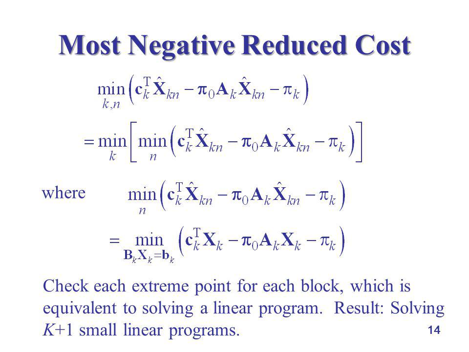 14 Most Negative Reduced Cost Check each extreme point for each block, which is equivalent to solving a linear program. Result: Solving K+1 small line