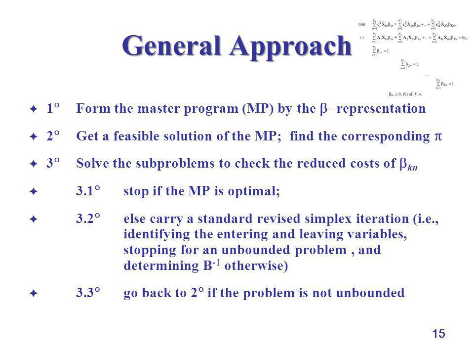 15 General Approach  1  Form the master program (MP) by the  representation  2  Get a feasible solution of the MP; find the corresponding   3