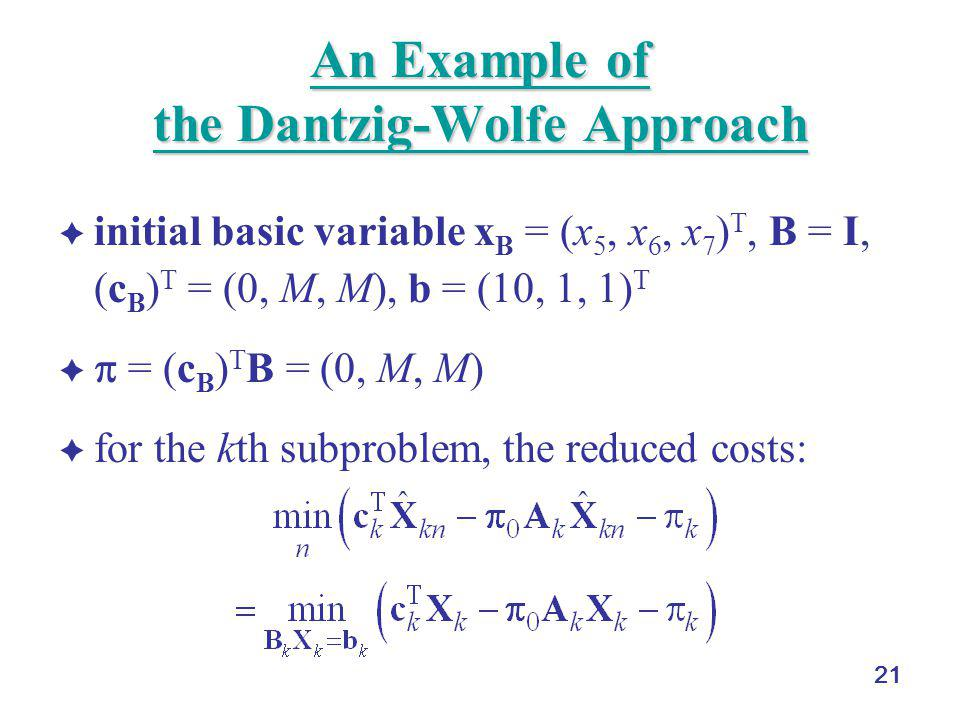 21 An Example of the Dantzig-Wolfe Approach An Example of the Dantzig-Wolfe Approach  initial basic variable x B = (x 5, x 6, x 7 ) T, B = I, (c B )