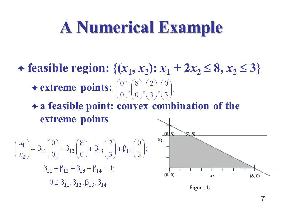 7 A Numerical Example  feasible region: {(x 1, x 2 ): x 1 + 2x 2  8, x 2  3}  extreme points:  a feasible point: convex combination of the extrem